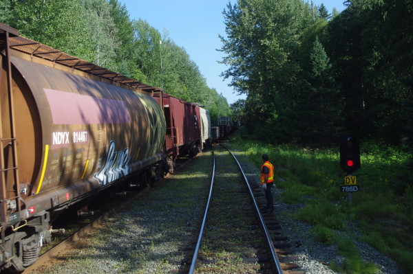 Early in the afternoon of the second day, the Skeena was directed onto a siding to allow a long Canadian National freight to pass in the opposite direction. The lounge area in the Park car provided a close-up view of the whole operation.