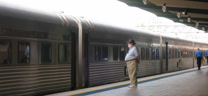 Looking at train