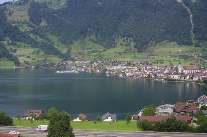 lake, town