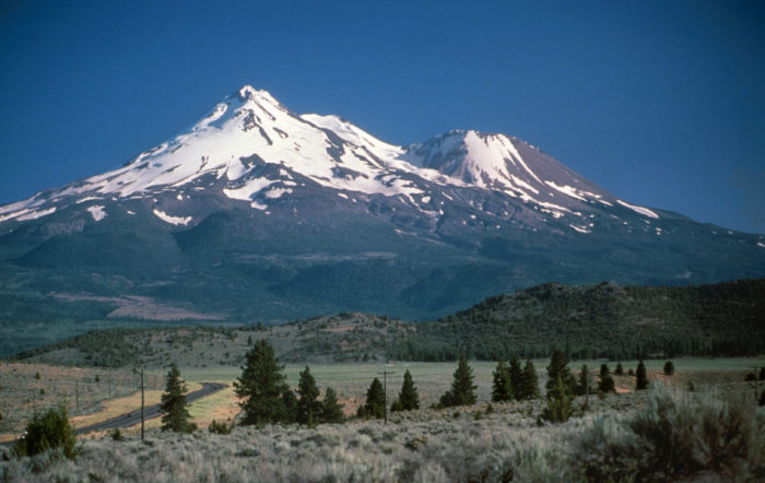 Mount Shasta and Shastina, California. USGS Photograph taken by Lyn Topinka, 1984. This photo in PD