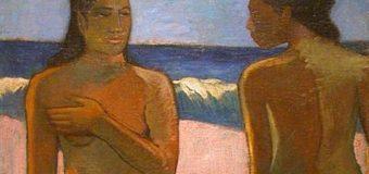 Two Nude Ladies on a Beach in Tahiti.