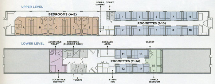 amtrak bedroom. Removable partitions separate Bedrooms B and C also D E so  Amtrak can turn two bedrooms into one large suite for families Bedroom A or TRAINS TRAVEL WITH JIM LOOMIS